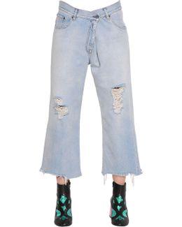 Destroyed Fold Over Cotton Denim Jeans