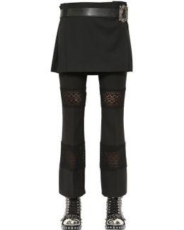 Wool Crepe Kilt With Leather Belt