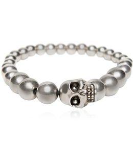 Skull Silver Finish Ball Bracelet