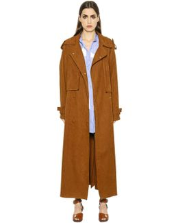 Oversized Faux Suede Long Trench Coat