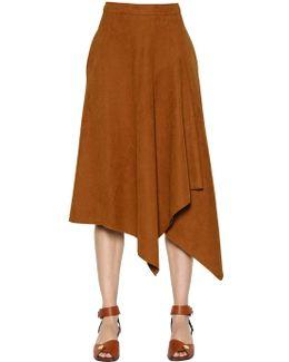Asymmetric Faux Suede Midi Skirt
