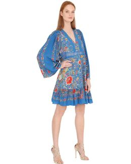 Flower Printed Silk Crepe De Chine Dress