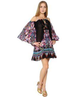 Printed Silk Georgette & Lace Dress