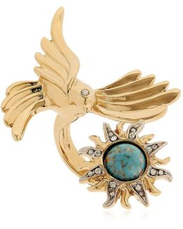 Swarovski Bird & Sun Brass Ring