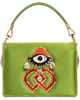 Swarovski & Eye Charm Satin Shoulder Bag