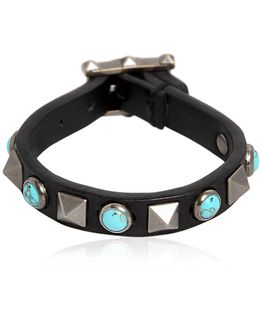 Rockstud Rolling Leather Bracelet