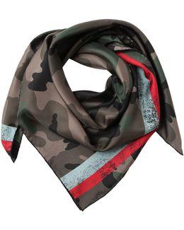 Camouflage Twill Silk Foulard