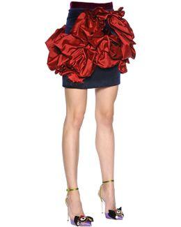 Ruffled Velvet & Duchesse Mini Skirt