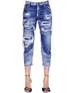 Destroyed Tomboy Cotton Denim Jeans