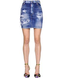 Destroyed Cotton Denim Mini Skirt