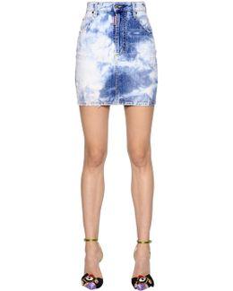 Bleached Cotton Denim Mini Skirt