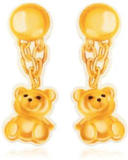 Teddy Bear Neoprene Clip-on Earrings