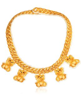 Teddy Bear Chain Print Neoprene Necklace