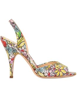 100mm Floral Printed Leather Sandals