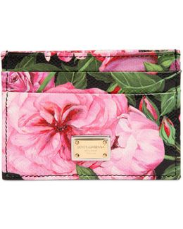 Rose Printed Leather Card Holder