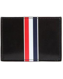 Stripe Print Brushed Leather Card Holder