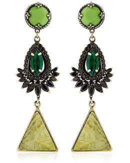 Anubian Brass, Agate & Crystal Earrings