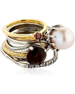 Puro Crystal, Pearl & Garnet Rings