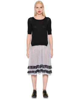 Knit & Polka Dot Techno Chiffon Dress