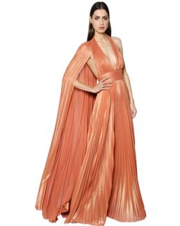 Plisse Georgette Lamé Gown W/ Cape