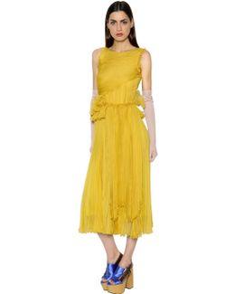 Gathered Silk Chiffon Dress W/ Ruffles