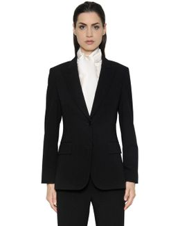 Single Breasted Wool Crepe Jacket