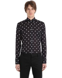Slim Fit Polka Dot Cotton Muslin Shirt