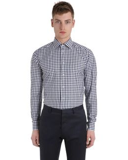 Slim Fit Printed Cotton Twill Shirt