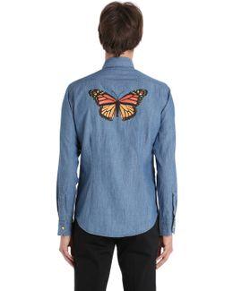 Butterfly Print Cotton Denim Shirt