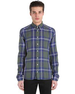 Slim Fit Plaid Cotton Button Down Shirt