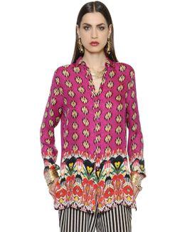 Printed Silk Crepe De Chine Long Shirt