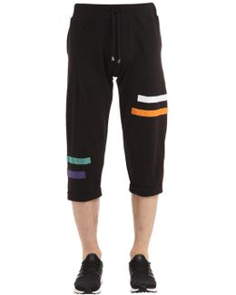 Cotton Sweat Shorts W/ Stripe Patches