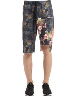 Camo & Floral Cotton Sweat Shorts