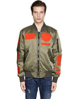 Contrasting Patches Nylon Bomber Jacket
