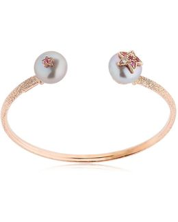 Pearl Rose Gold Bangle Bracelet