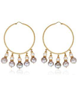 Medium Hoops W/ Pearls
