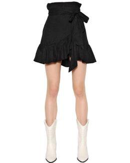 Ruffled Asymmetric Wrap Over Linen Skirt