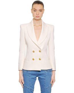 Double Breasted Viscose Crepe Jacket