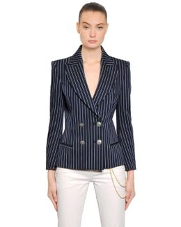 Pinstripe Double-Breasted Stretch-Cotton Jacket