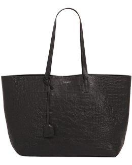 Croc Embossed Leather Tote Bag