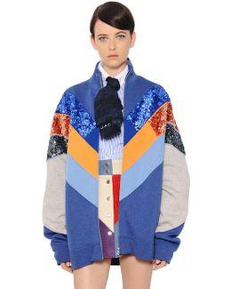 Sequined Cotton Blend Bomber Jacket
