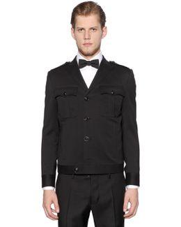 Wool Gabardine Military Style Jacket