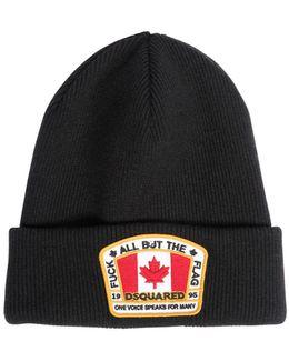 Wool Beanie Hat W/ Logo Patch