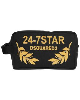 Logo Embroidered Canvas Toiletry Bag