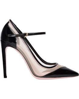105mm Erika Mesh & Patent Leather Pumps