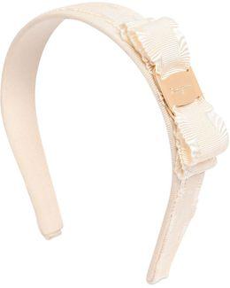 Cotton Grosgrain Headband W/ruffle Bow