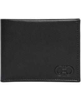 Leather Slim Wallet W/ Gancio Detail