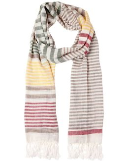 Linen & Silk Striped Scarf
