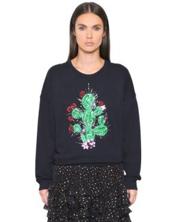 Cactus Embroidered Cotton Sweatshirt