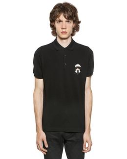 Karl Patched Cotton Piqué Polo Shirt